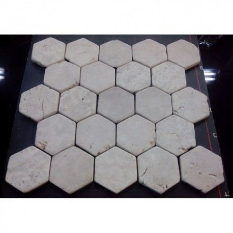 Hexagon White 6x6 (30x30) luonnonkivi