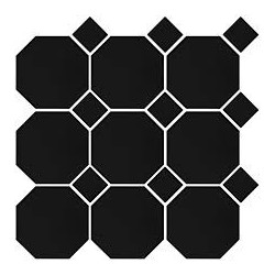 TTC Art Octagon Black on Black  30x30 mosaiikki
